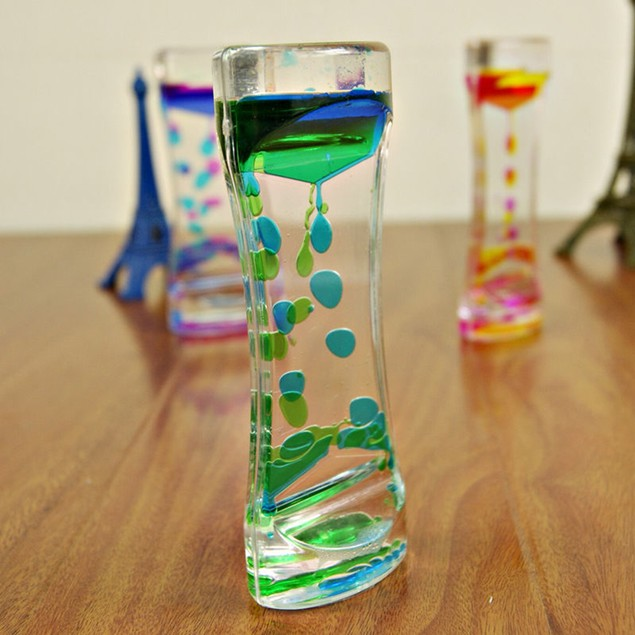 Double Colors Oil Hourglass Liquid Floating Motion Bubbles Timer