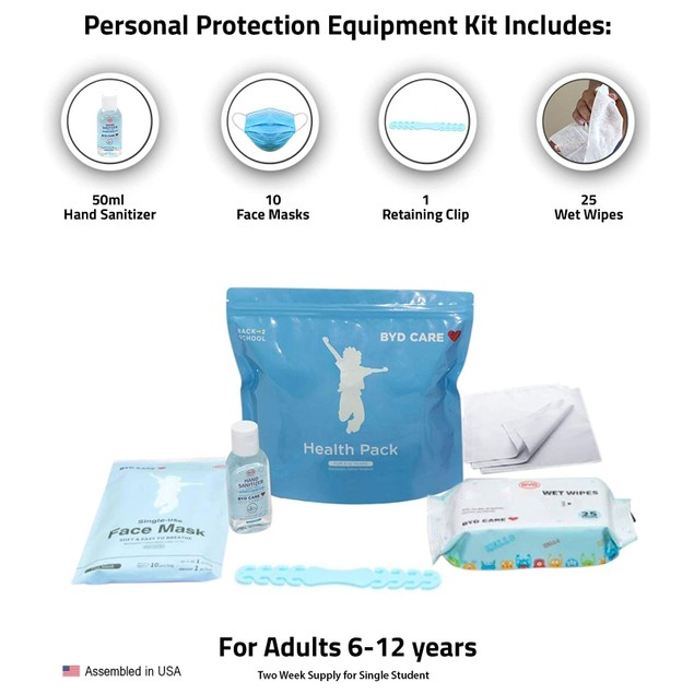 Offex Health Pack PPE Kit for School, Student, Kids 6-12 Years - Blue