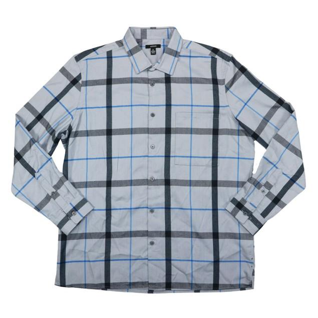 Alfani Men's Classic-Fit Brushed Plaid Shirt PortGray Size Extra Large
