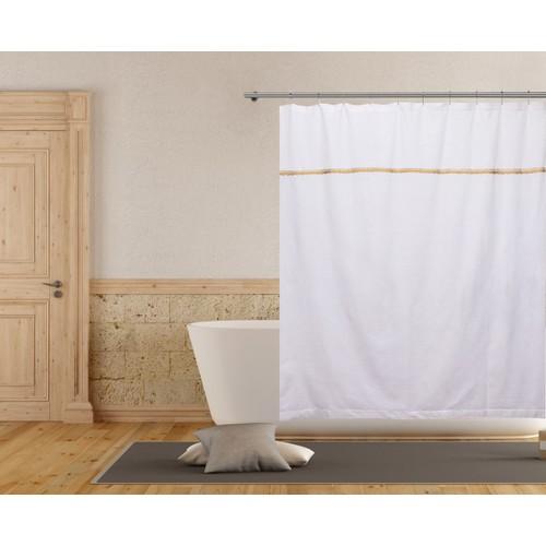 Miriam Border Striped Cotton Shower Curtain