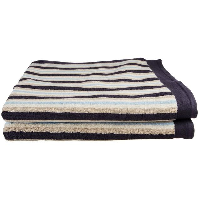 Egyptian Cotton Stripe Modern 2-Piece Fast Drying Bath Towel Set