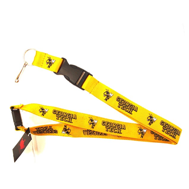 Georgia Tech Yellow Jackets Lanyard Keychain Id Ticket - Yellow