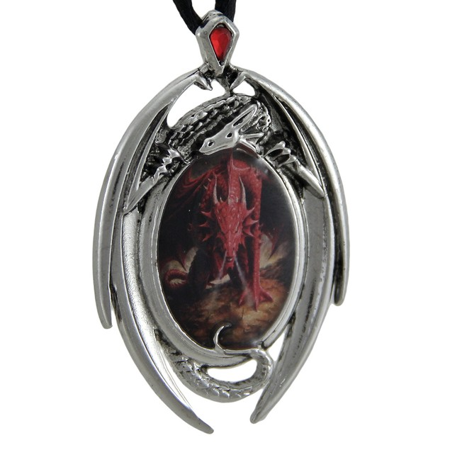 Anne Stokes Dragon's Lair Cameo Pendant Necklace Womens Pendant Necklaces