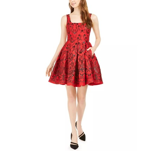 Taylor Women's Sequined Fit & Flare Dress Red Size 16