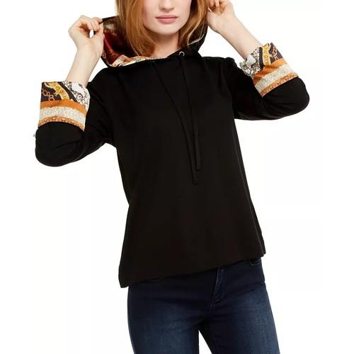 INC International Concepts Women's Printed-Cuff Hoodie Black Size Medium