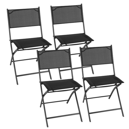 Costway Set of 4 Outdoor Patio Folding Chairs Camping Deck Garden Pool Beac