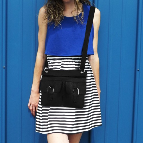 Deluxe Functional Multi Pocket Leather Crossbody Bag
