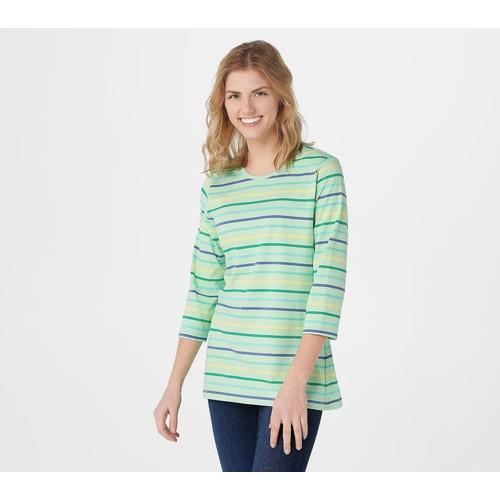 Denim & Co. Yarn Dye Stripe Jersey Round Neck 3/4 Sleeve Top, Large,