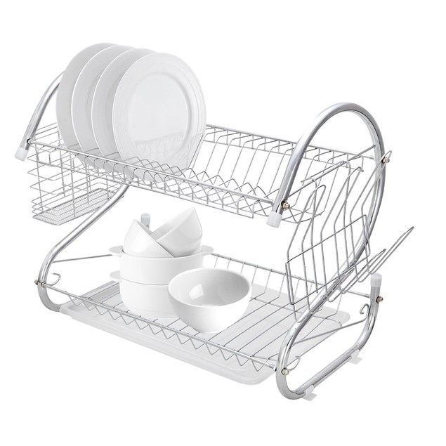 Multifunctional S-shaped Dual Layers Bowls Dishes Chopsticks Spoons Drainer