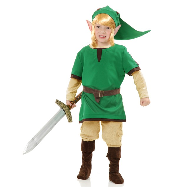 Link Boys Costume Legend Of Zelda Elf Warrior Video Game Gamer Cosplay Kids