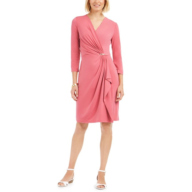 Charter Club Women's Hardware Faux Wrap Dress Dark Pink Size X-Small