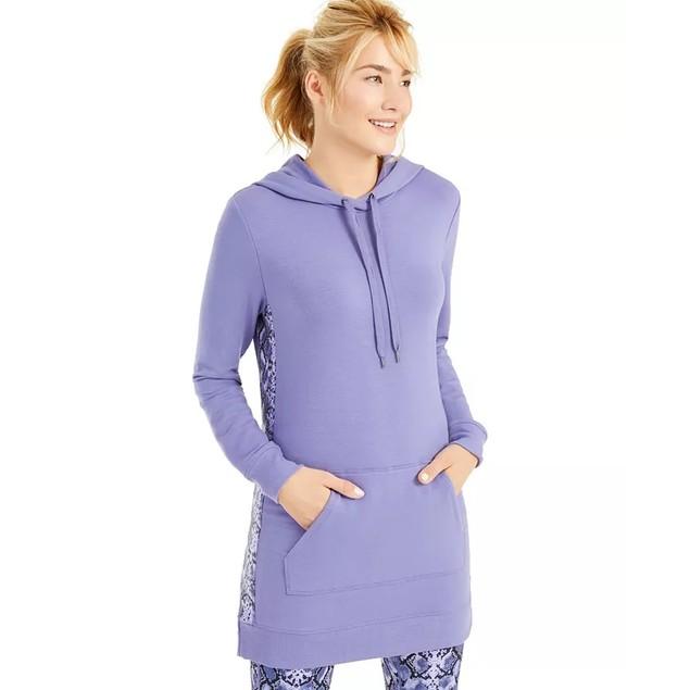 Ideology Women's Printed Panel Long Hoodie Medium Purple Size Medium