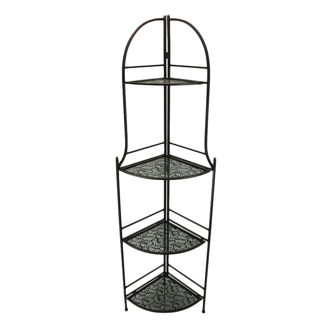4 Tier Brown Metal Decorative Corner Rack Display Corner