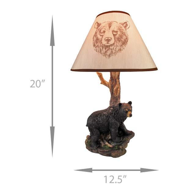 Black Bear And Tree Table Lamp With Shade 20 In. Table Lamps