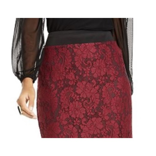 Thalia Sodi Women's Lace Pencil Skirt Red Size Extra Large