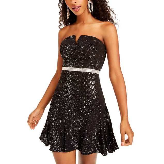 City Studios Juniors' Sequined Strapless Fit & Flare Dress Silver Size 7