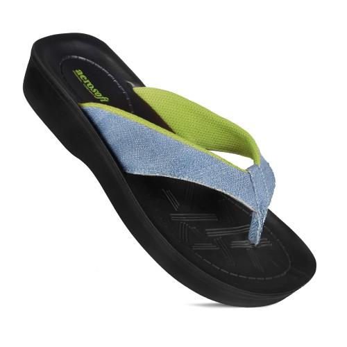AEROSOFT Serge Neon Denim Thong Vacation Essentials Comfortable Flip Flops for Women