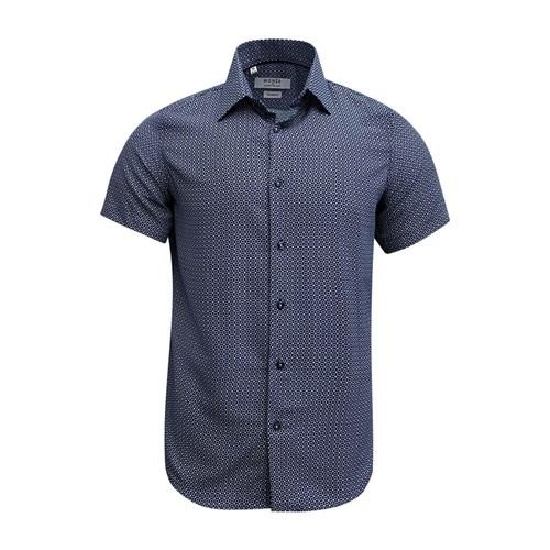 Monza Modern Fit Short Sleeve Navy Twill Dress Shirt