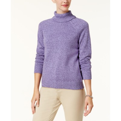 Karen Scott Women's Marled Cotton Turtleneck Sweater Purple Size X-Small