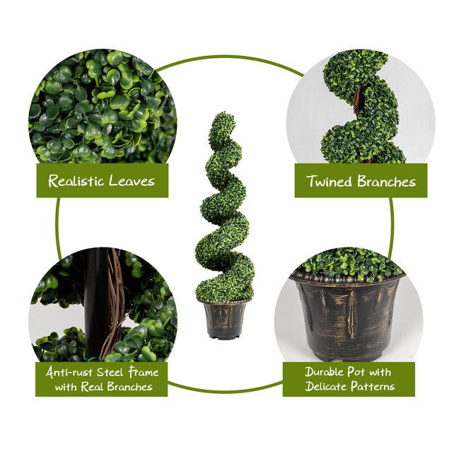 Costway 4FT Artificial Boxwood Spiral Tree Faux Tree W/Realistic Leaves Ind