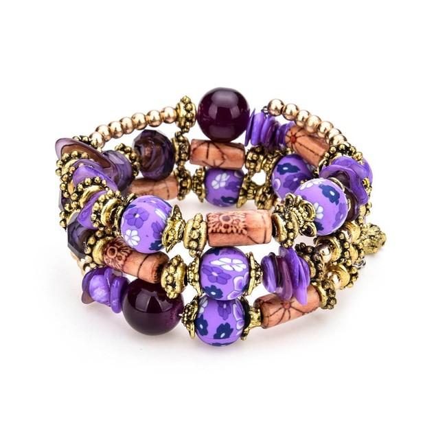 Novadab Painted Aubergine Layered Bracelet