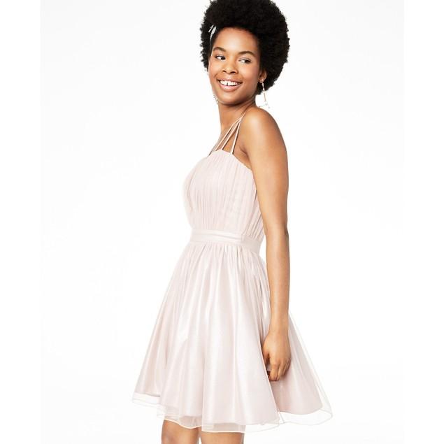 City Studios Juniors' Tulle Fit & Flare Dress Medium Pink Size 13