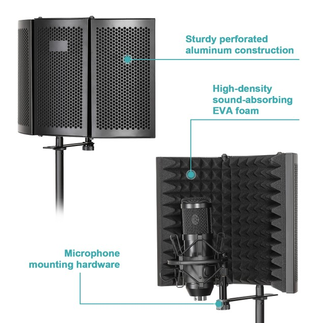MICROPHONE STUDIO RECORDING KIT WITH WIND SCREEN BRACKET STAND POP FILTER