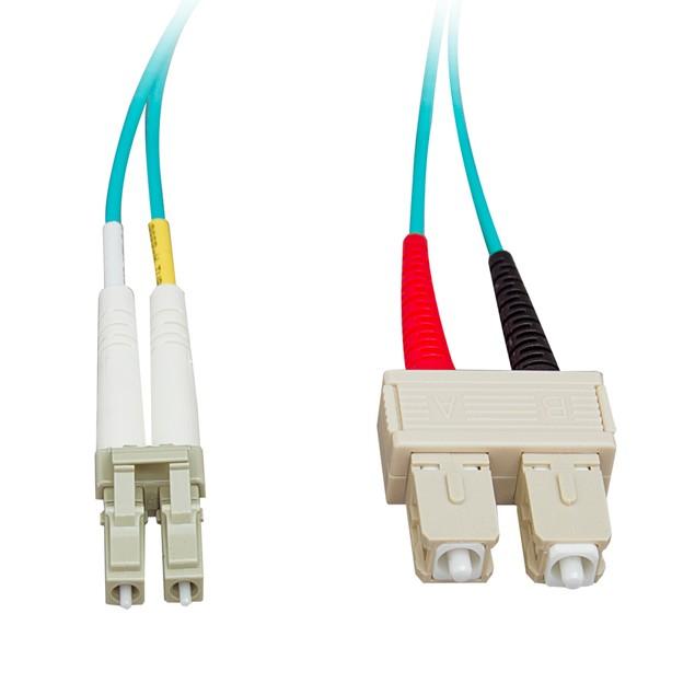 10 Gigabit Aqua Fiber Optic Cable, LC / SC, Multimode, (49.2 foot)