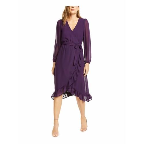 Q+A Los Angeles Women's Balloon Sleeve Chiffon Midi Dress Purple Size Large