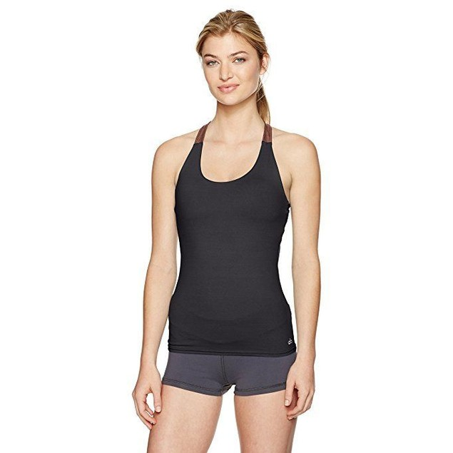 Alo Yoga Women's Venture Bra Tank, Black/Copper Metallic/Black, L