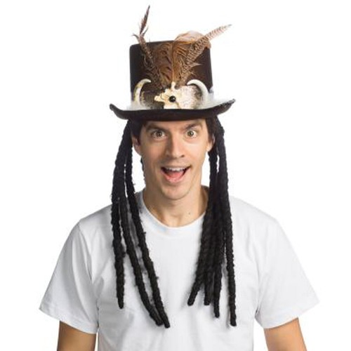 King Voodoo Top Hat Witch Doctor Dreads Bones Feathers Costume Medicine Man