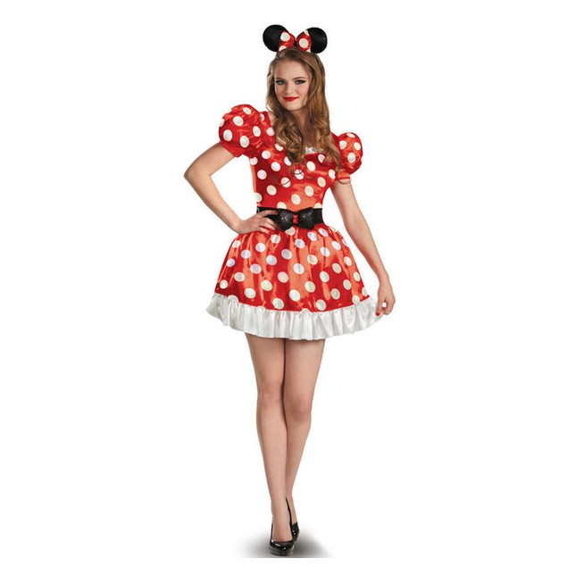 Red Minnie Classic Dress Adult Mouse Disney Mickey Costume Halloween