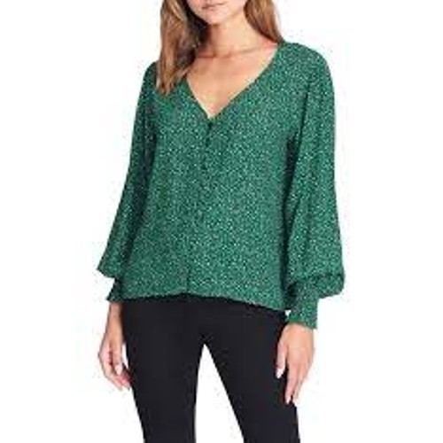 Sanctuary Women's Noelle Smocked Cuff Blouse Size  Green Size X-Small