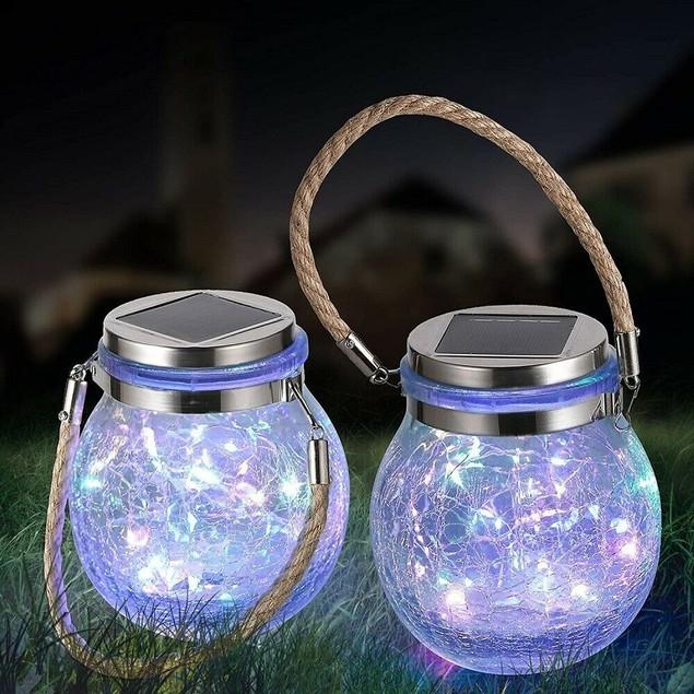 2-Pack LED Solar Crackle Glass Hanging Lantern