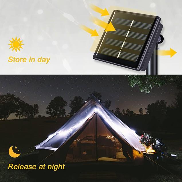 LED Solar Fairy String Lights 78.7'' Copper Wire Outdoor Waterproof Garden