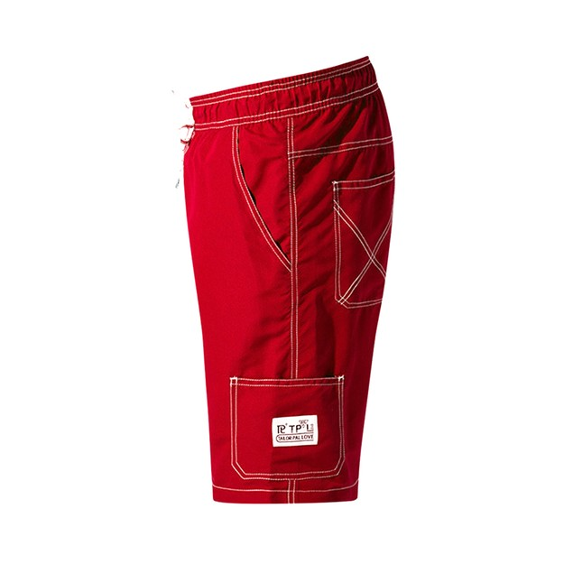 Mens Quick-drying Surf Pants with Pockets Solid Color Red