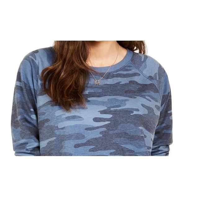 Style & Co Women's Camo Sweatshirt Blue Size Medium