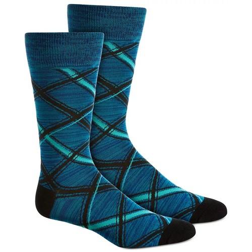Perry Ellis Men's Plaid Socks Navy Size Regular