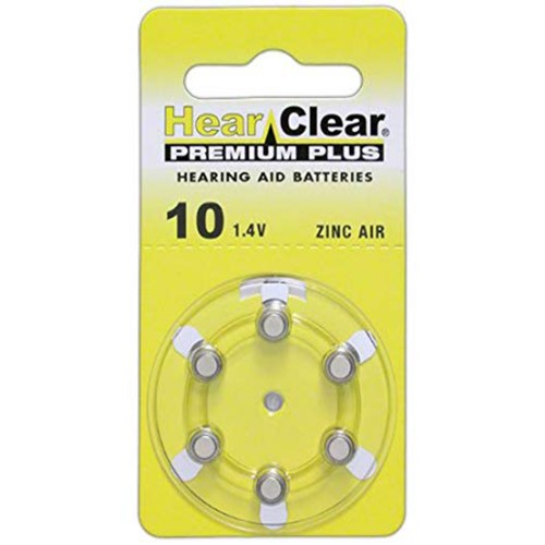 HearClear Size 10 MF Zinc Air Hearing Aid Batteries (60 pack)