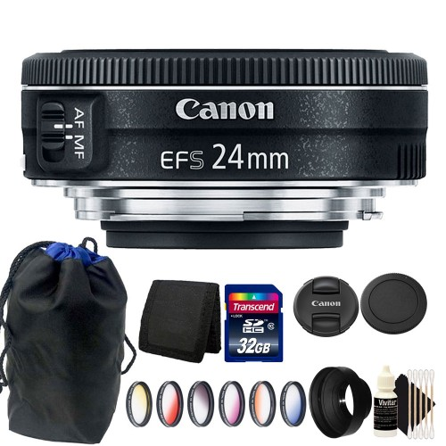 Canon EF-S 24mm f/2.8 STM Lens + 52mm 6pc Color Filter Kit + Rubber Lens Hood + 32GB Memory Card + Wallet + Pouch + 3pc Cleaning Kit