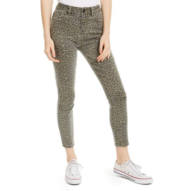 Indigo Rein Juniors' Leopard-Print Cropped Skinny Jeans Green Size 5