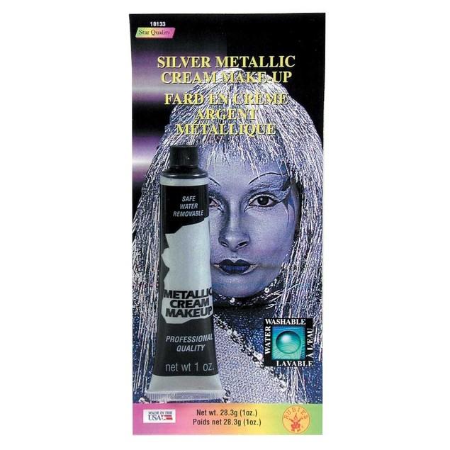 Silver Metallic Cream Makeup Tin Man Shiny Halloween Costume Water Washable