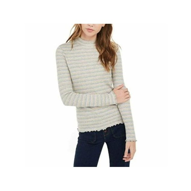 Hippie Rose Juniors' Ribbed Mock-Neck Top Gray Size Small
