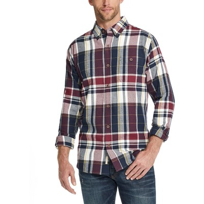 Weatherproof Vintage Men's Exploded Flannel Plaid Shirt Red Size Small
