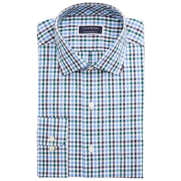 Club Room Men's Wrinkle-Resistant Gingham Dress Shirt Blue-Green Size 32X33