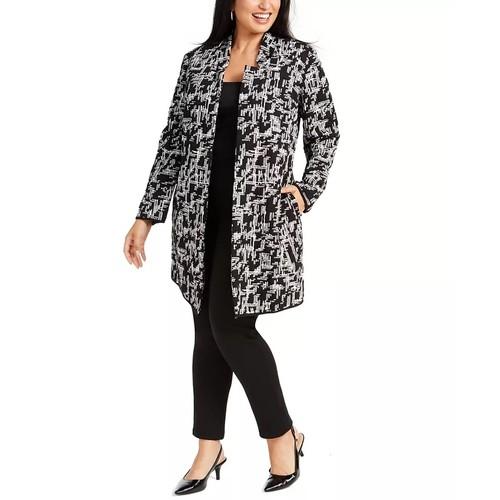 Alfani Women's Plus Jacquard Open Front Jacket Black Size 2X