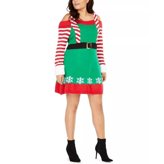Planet Gold Women's Derek Heart Trendy Plus Size Elf Dress Green Size 1X