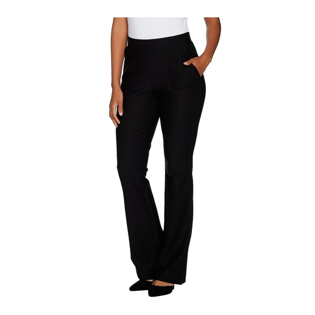 Lisa Rinna Collection Pull On Boot Cut Pants with Pockets, X-Large, Black