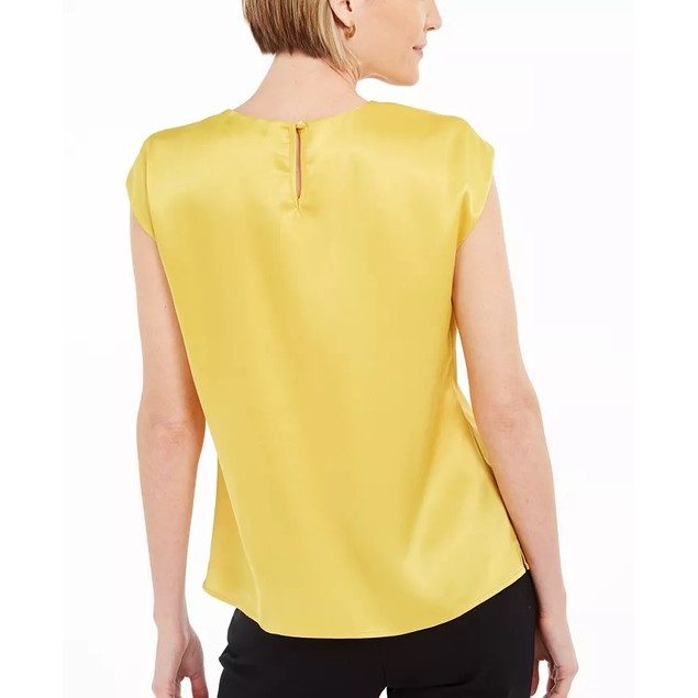 Kasper Women's Keyhole Charmeuse Sleeveless Blouse Yellow Size Medium