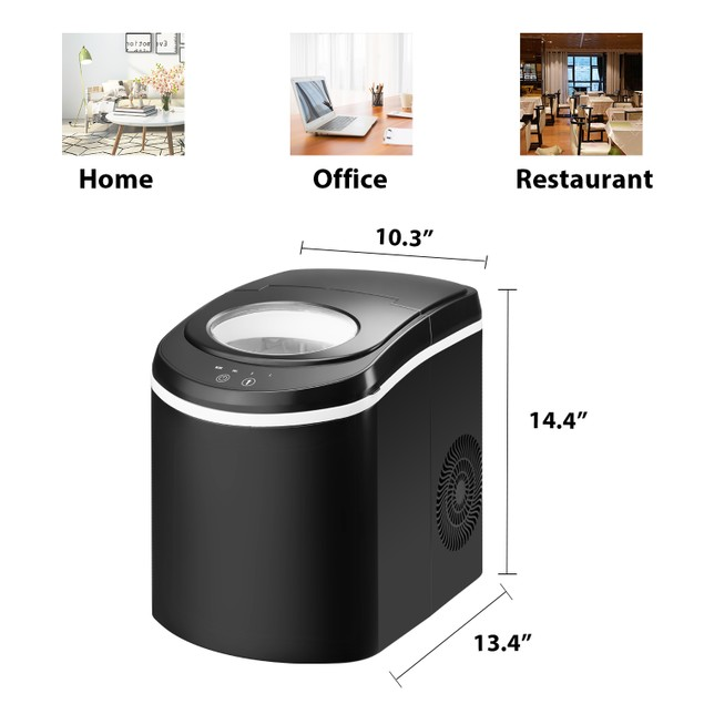 Ainfox Black Electric Ice Maker Machine for Countertop, 26lbs Bullet Ice Cubes in 24H with Scoop and Basket